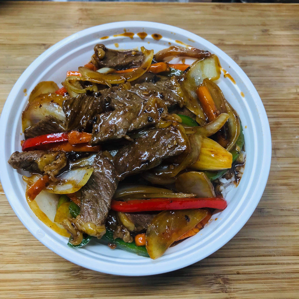 Beef and Black Bean Sauce Stir Fry Rice Topping