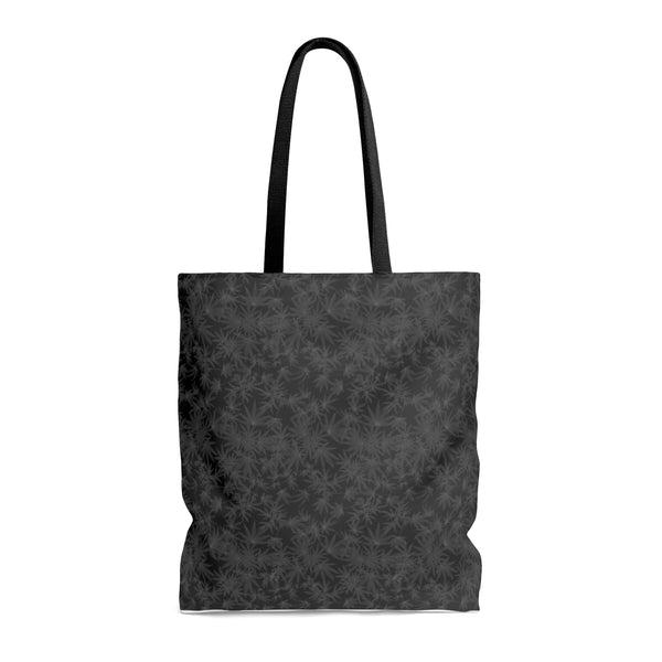 'Black Leaf' Cannabis Tote Bag in Black