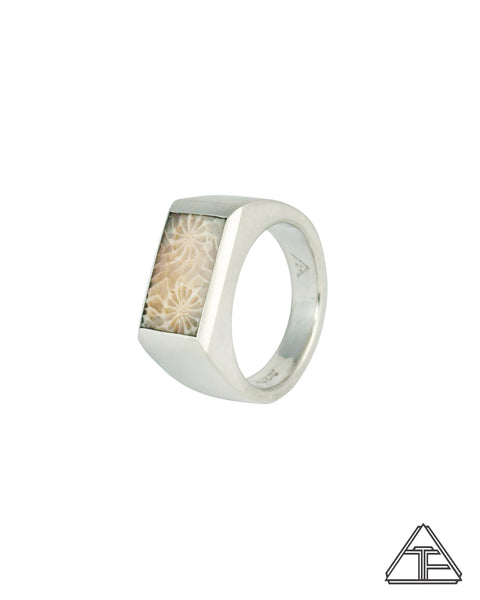 Signet Ring: Inlay Fossilized Coral