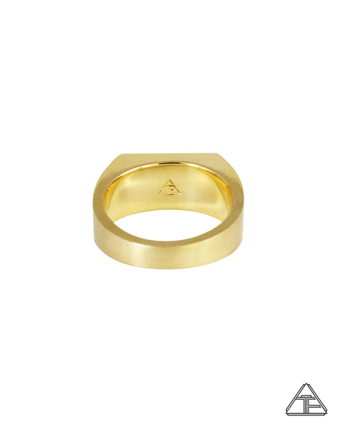 Signet Ring: Matte 14K Yellow Gold