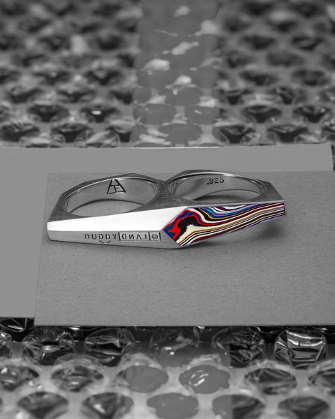 BUDDYLAND® Double Finger Ring: Fordite Inlay