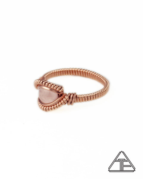Size 5 - Rose Quartz & Rose Gold Wire Wrapped Ring