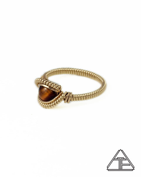 Size 6 - Tigers Eye Yellow Gold Wire Wrapped Ring