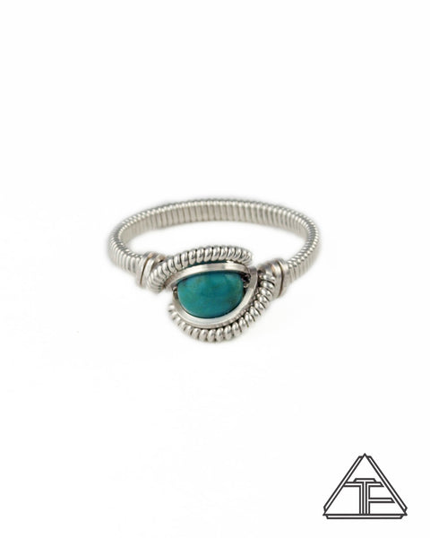 Size 7 - Turquoise and Sterling Silver Wire Wrapped Ring