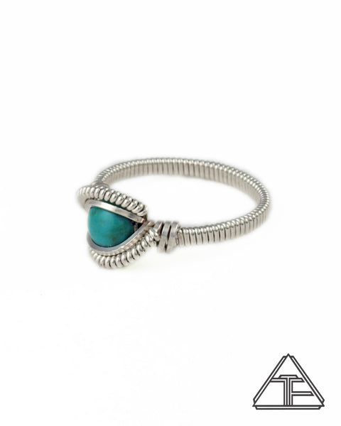 Size 6 - Turquoise and Sterling Silver Wire Wrapped Ring