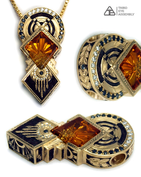 Deco Rising: Citrine + Diamond 14k Yellow Gold Lux Pendant