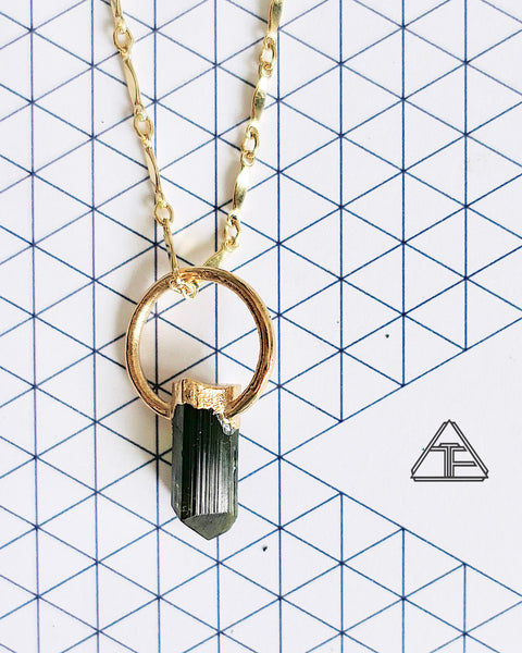Green Tourmaline Yellow Gold Crystal Talisman Pendant