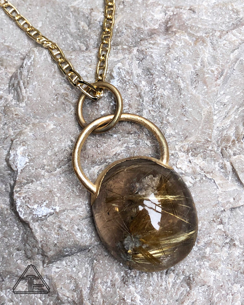 Rutilated Quartz Yellow Gold Crystal Talisman Pendant