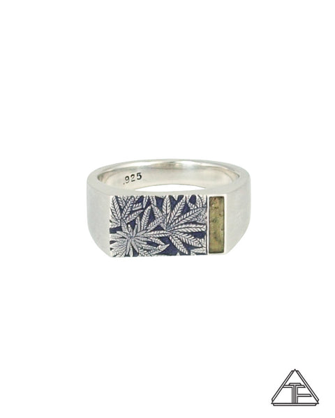 Signet Ring: Canna Class Moldavite Inlay