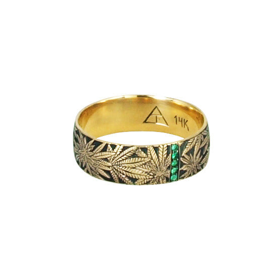 Married to the Game: Emerald Canna Class Hand Engraved Band / Ring