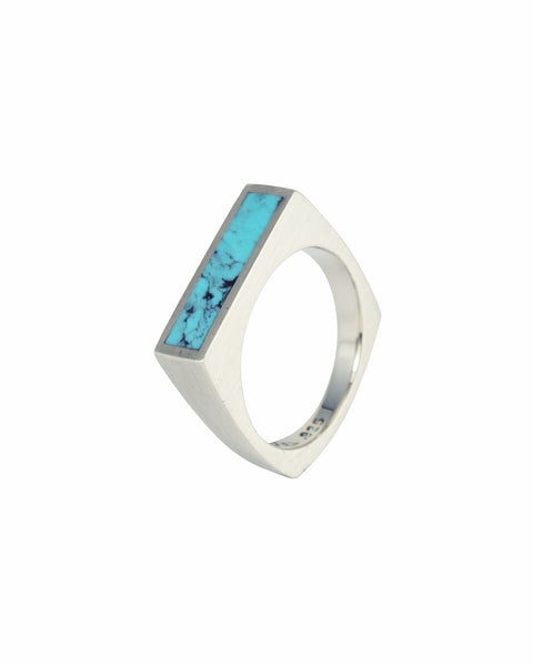 Giotto: Turquoise Inlay Signet Ring 6mm