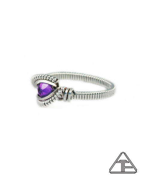 Size 5.5 - Amethyst and Sterling Silver Wire Wrapped Ring