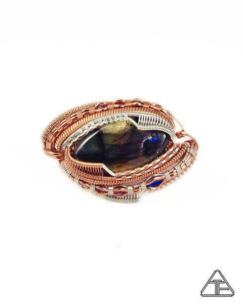 Size 8.5 and 10 - Labradorite Rose Gold and Silver Wire Wrapped Double Ring