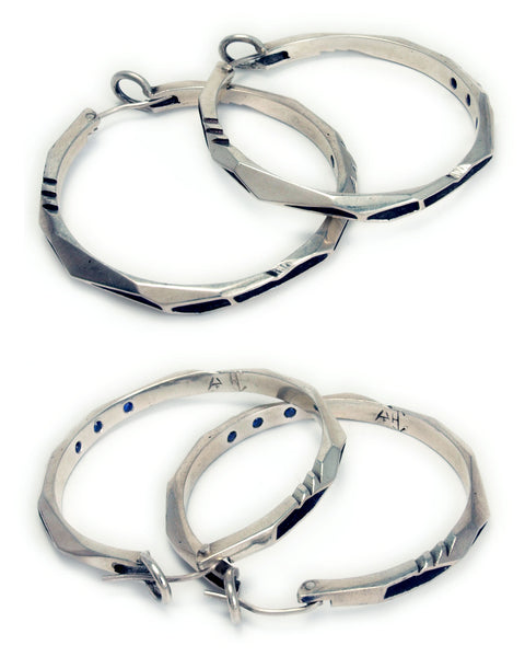 Blue Sapphire Sterling Silver Lattice Series Hoops Collab