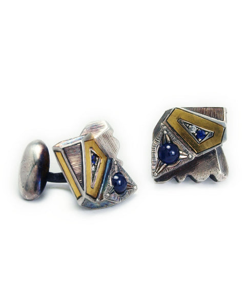 Blue Sapphire and Diamond 24k Gold Inlay Lattice Series Cufflinks Collab