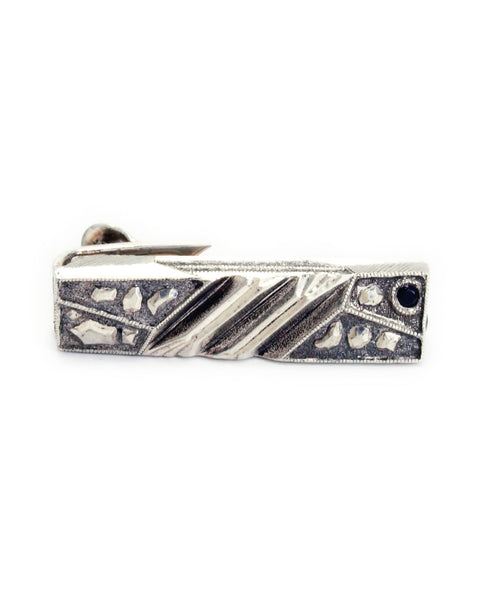 Black Diamond Lattice Series Sterling Silver Engraved Tie Bar Collab