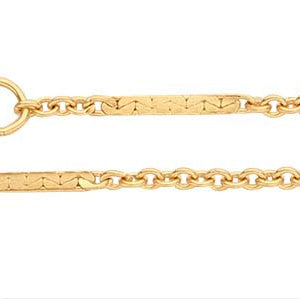14k Yellow Gold Cable Chain with Bar Accents 1.5mm