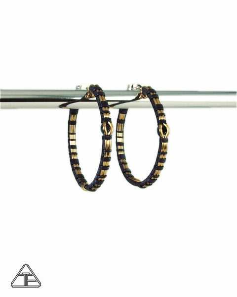 Black Spinel Yellow Gold and Silver Wire Wrap Hoop Earrings