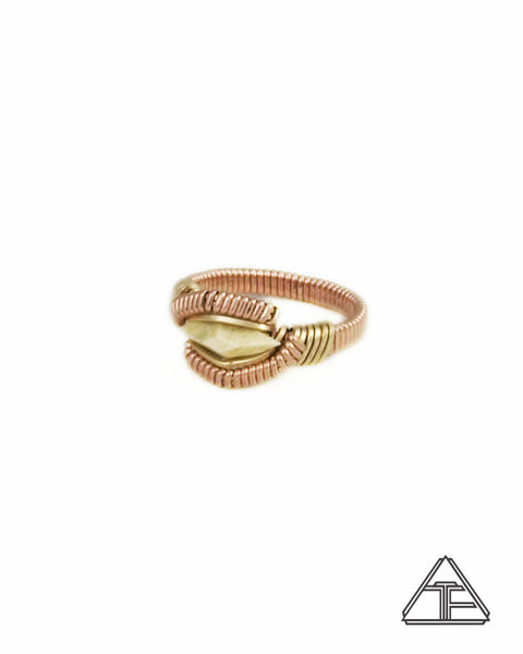 Size 4.5 - Ancient Woolly Mammoth Yellow and Rose Gold Wire Wrapped Ring