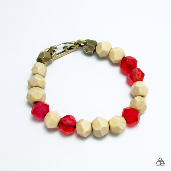 Lattice: Brass Chain Bracelet with Woolly Mammoth Ivory & Cherry Amber