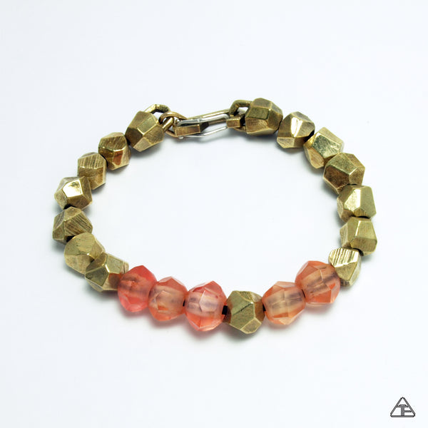 Lattice: Brass Bracelet Cherry Amber