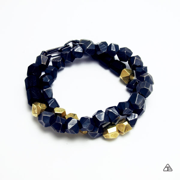Lattice: Stealth Sterling & Brass Double Wrap Chain Bracelet with Ebony