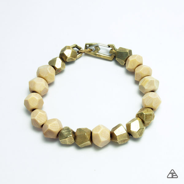Lattice: Brass Chain Bracelet Woolly Mammoth Ivory