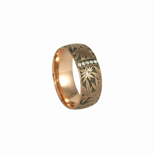 Married to the Game: Canna Class Rose Gold Hand Engraved Band / Ring