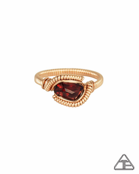 Size 6 - Garnet and Rose Gold Wire Wrapped Ring