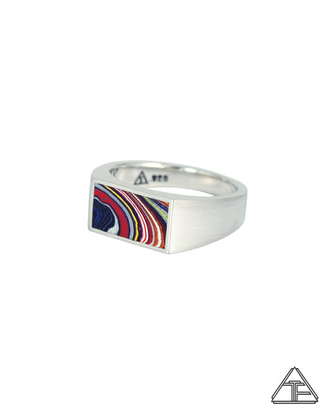 Lux Signet Ring: Engraved with Fordite Inlay