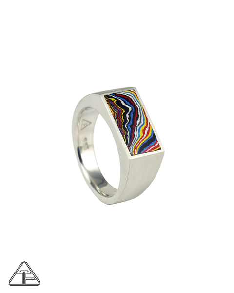 Signet Ring: Fordite Inlay Size 10