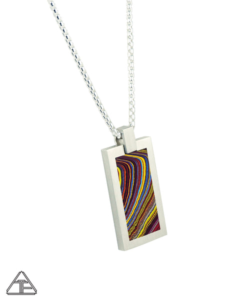Dog Tag: Fordite Inlay Pendant