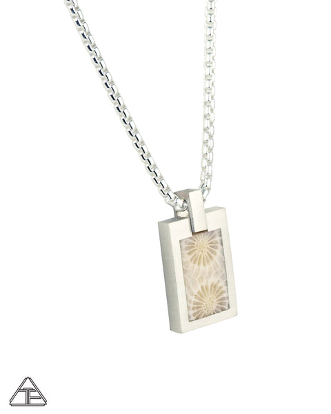 Mini Dog Tag: Fossilized Coral Inlay Pendant