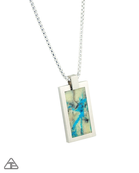 Dog Tag: Mona Lisa Turquoise Inlay Pendant