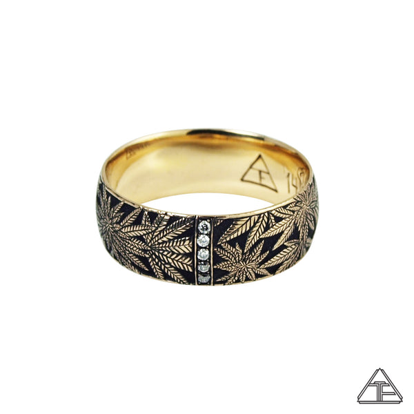 Married to the Game: Canna Class Yellow Gold Hand Engraved Band / Ring
