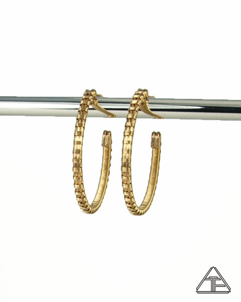 Yellow Gold Hoop Wire Wrap Earrings
