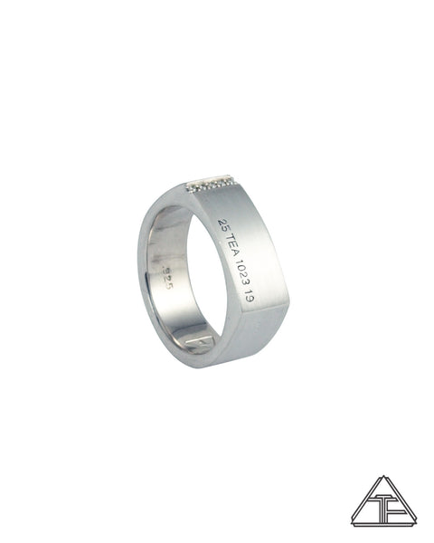 Diamond Camber: Matte Sterling Silver Hand Engraved Band 14mm