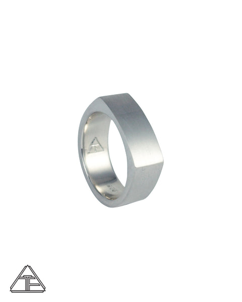 Camber: Matte Sterling Silver Hand Engraved Band 14mm