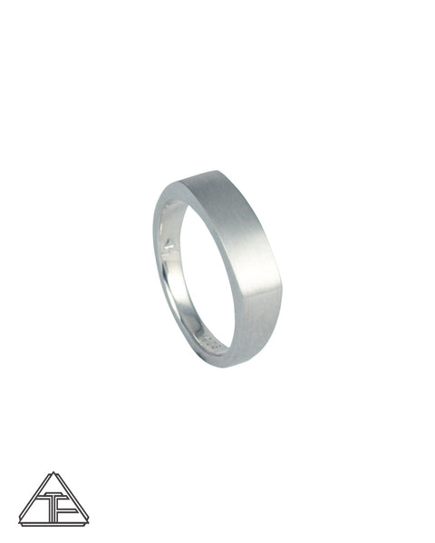 Camber: Matte Sterling Silver Hand Engraved Band 5mm