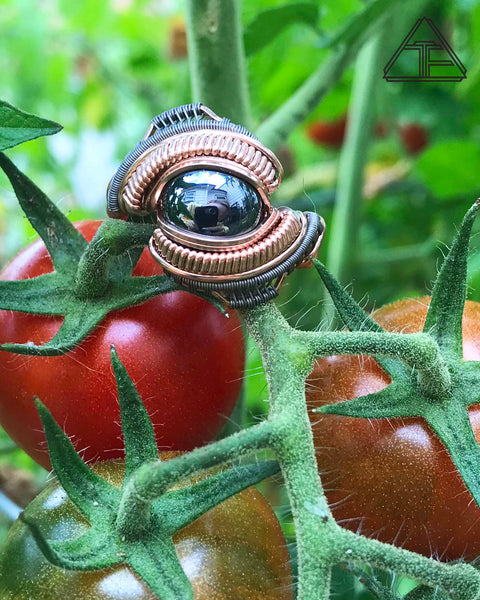 Size 10 - Hematite Rose Gold Silver and Titanium Wire Wrapped Ring