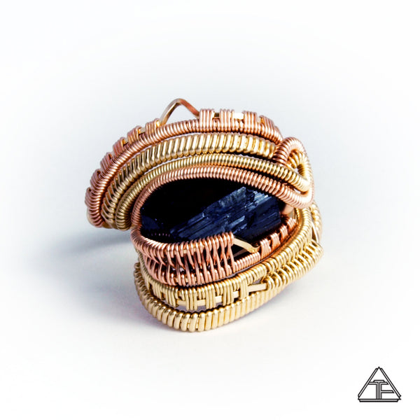 Size 9  - Black Tourmaline Yellow + Rose Gold Wire Wrapped Ring