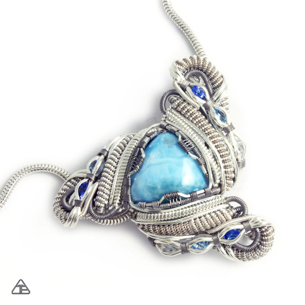 Larimar Sterling Silver and Titanium Wire Wrapped Pendant