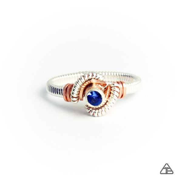 Size 5 - Tanzanite Sterling Silver & Rose Gold Wire Wrapped Hybrid Tiny Ring