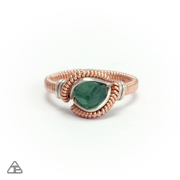 Size 4  - Demantoid Garnet Rose Gold Wire Wrapped Tiny Ring