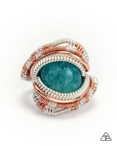 Size 5 - Amazonite Silver and Rose Gold Wire Wrapped Ring