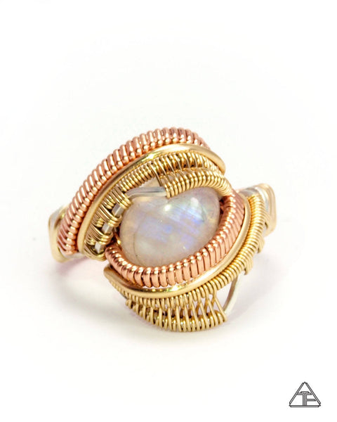 Size 8  - Moonstone Yellow + Rose Gold Wire Wrapped Ring