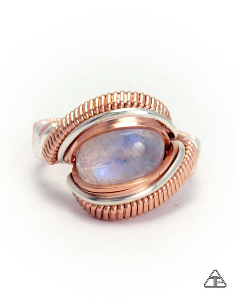 Size 5.5 - Moonstone Rose Gold and Sterling Silver Wire Wrapped Ring