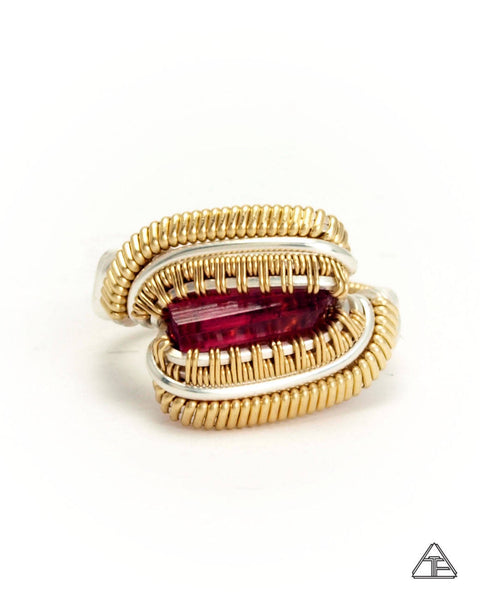 Size 5 - Rubellite Sterling Silver and Yellow Gold Wire Wrapped Ring