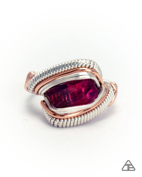 Size 6 - Rubellite Sterling Silver and Rose Gold Wire Wrapped Ring