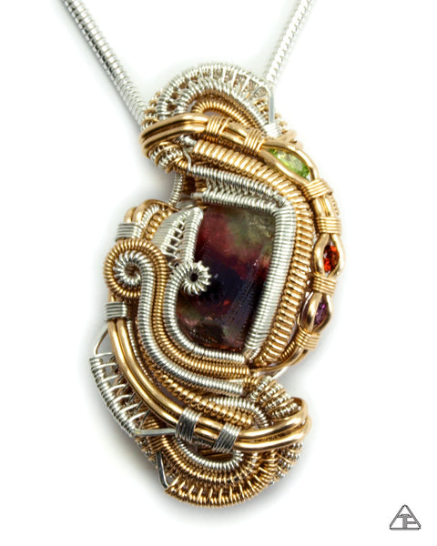 Multi-Color Tourmaline Sterling and Gold Wire Wrapped Pendant